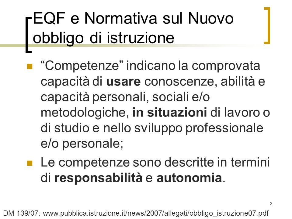 EQF e Normativa sul Nuovo obbligo di istruzione