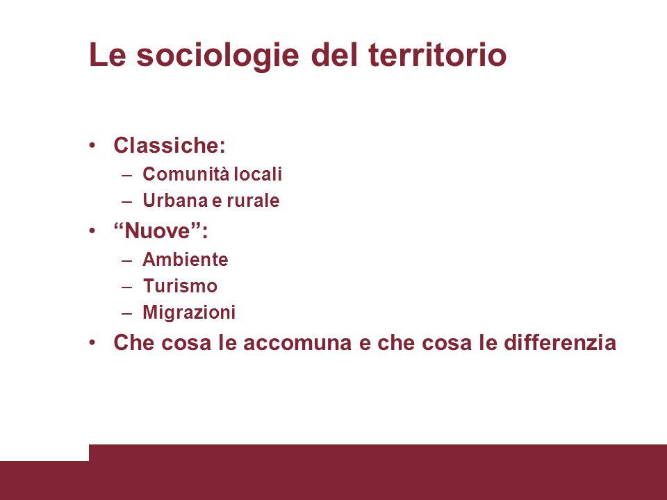Le sociologie del territorio