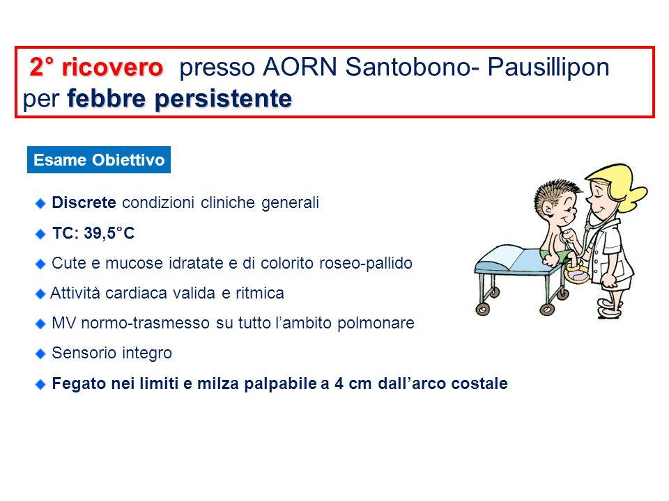 2° ricovero presso AORN Santobono- Pausillipon per febbre persistente
