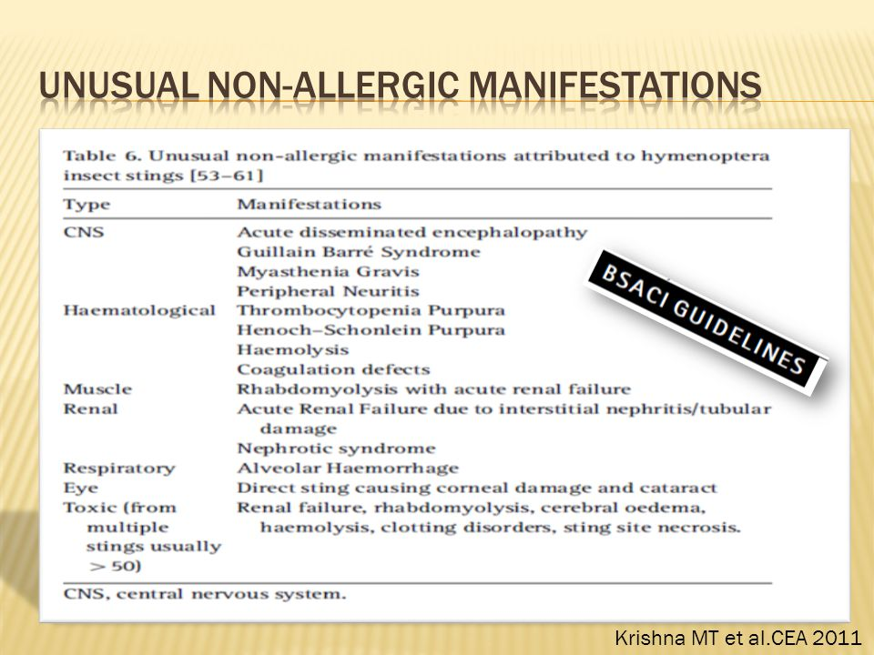 Unusual non-allergic manifestations