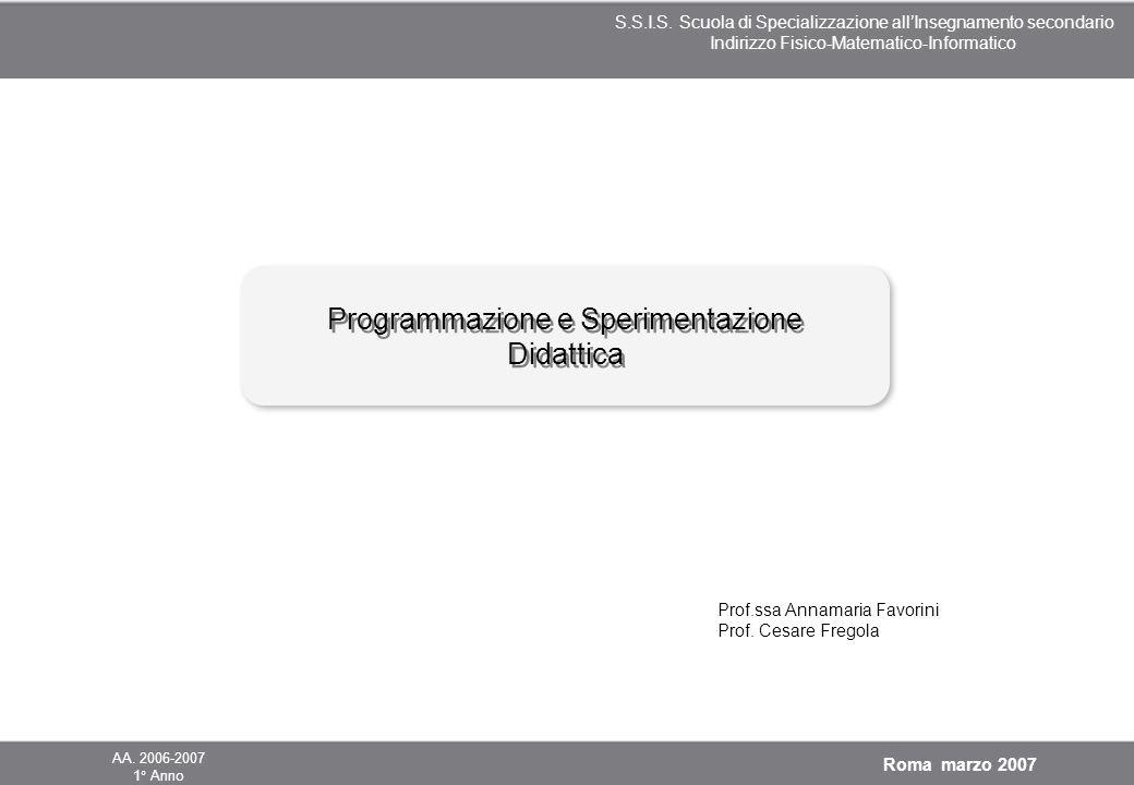 Programmazione e Sperimentazione Didattica