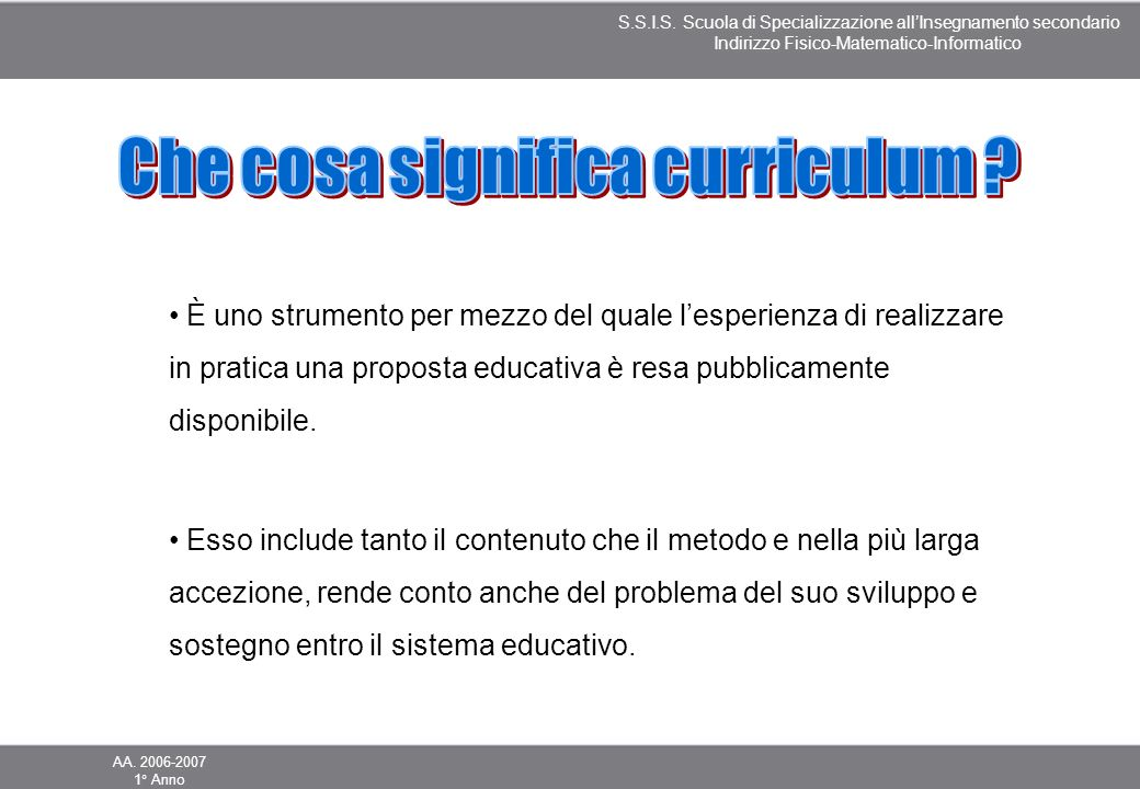 Che cosa significa curriculum