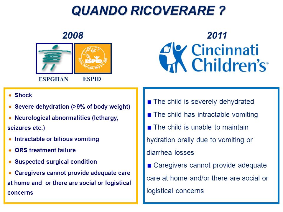 QUANDO RICOVERARE The child is severely dehydrated