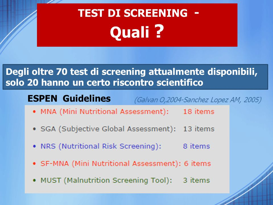 TEST DI SCREENING - Quali