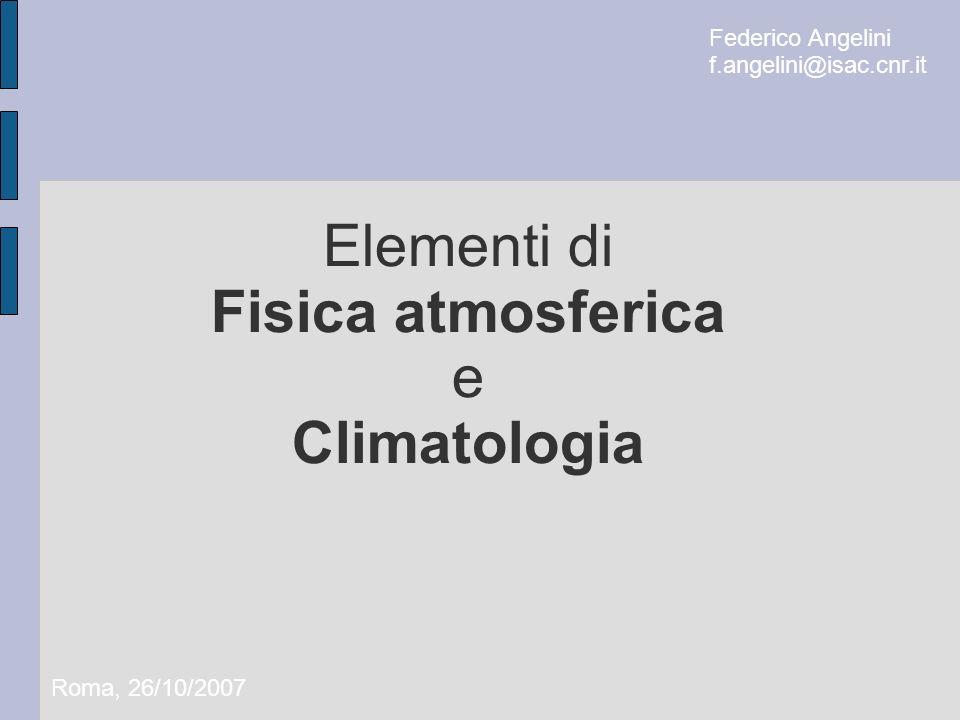 Elementi di Fisica atmosferica e Climatologia