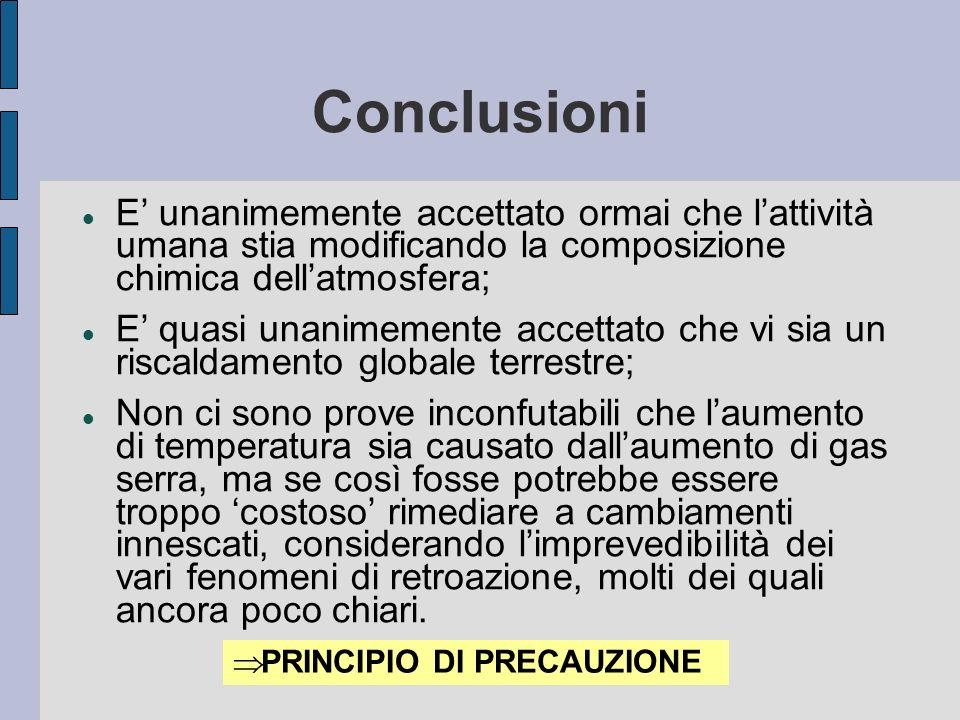 Conclusioni E' unanimemente accettato ormai che l'attività umana stia modificando la composizione chimica dell'atmosfera;