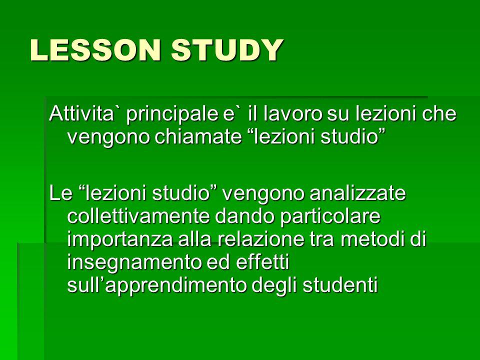 LESSON STUDY Attivita` principale e` il lavoro su lezioni che vengono chiamate lezioni studio