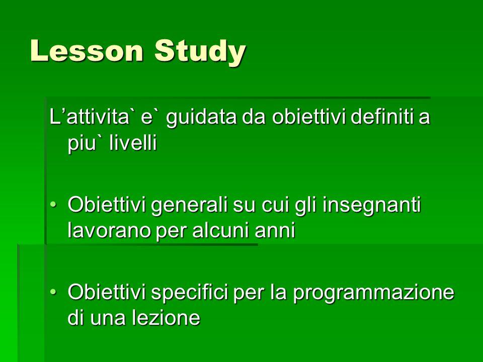 Lesson Study L'attivita` e` guidata da obiettivi definiti a piu` livelli. Obiettivi generali su cui gli insegnanti lavorano per alcuni anni.