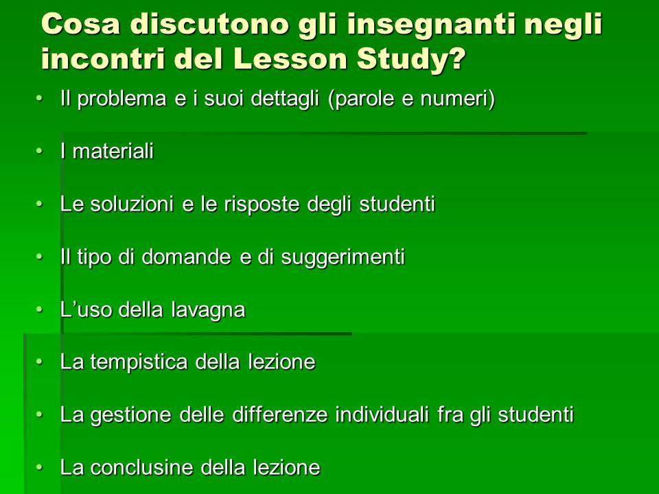Cosa discutono gli insegnanti negli incontri del Lesson Study