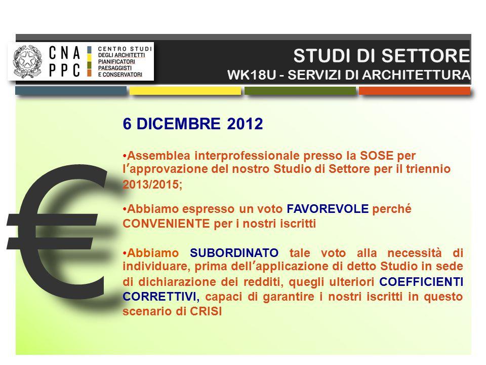 € STUDI DI SETTORE 6 DICEMBRE 2012 WK18U - SERVIZI DI ARCHITETTURA