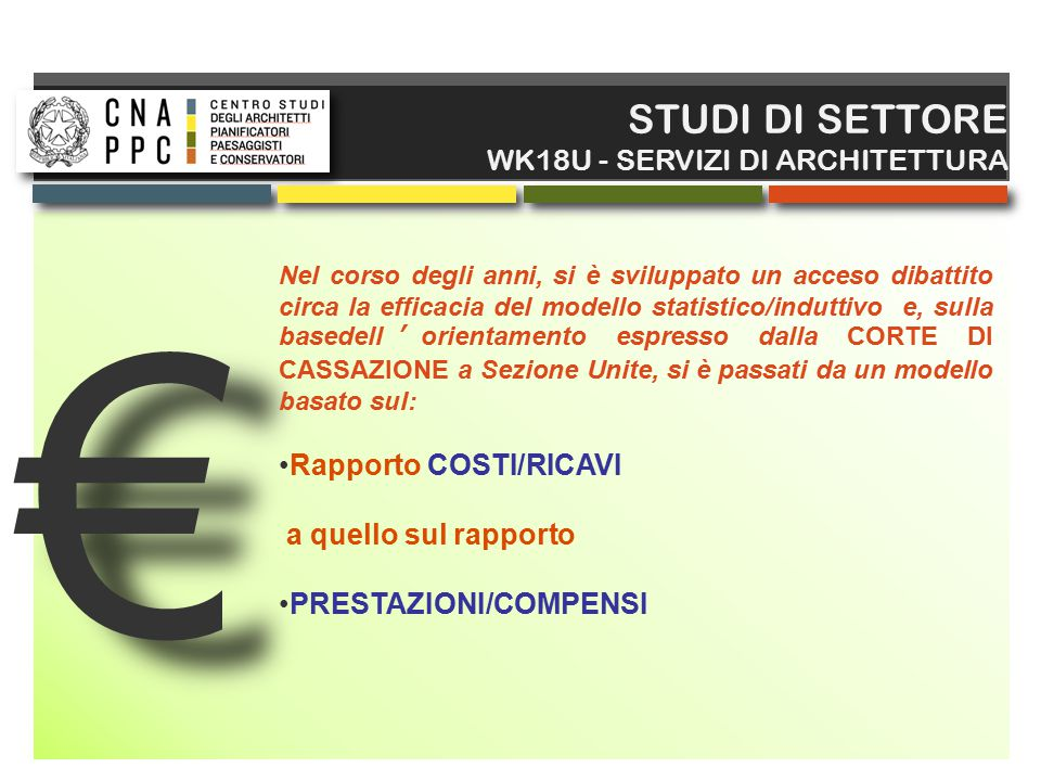 € STUDI DI SETTORE WK18U - SERVIZI DI ARCHITETTURA