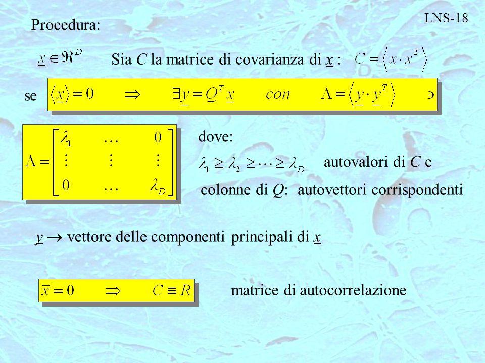 Sia C la matrice di covarianza di x :