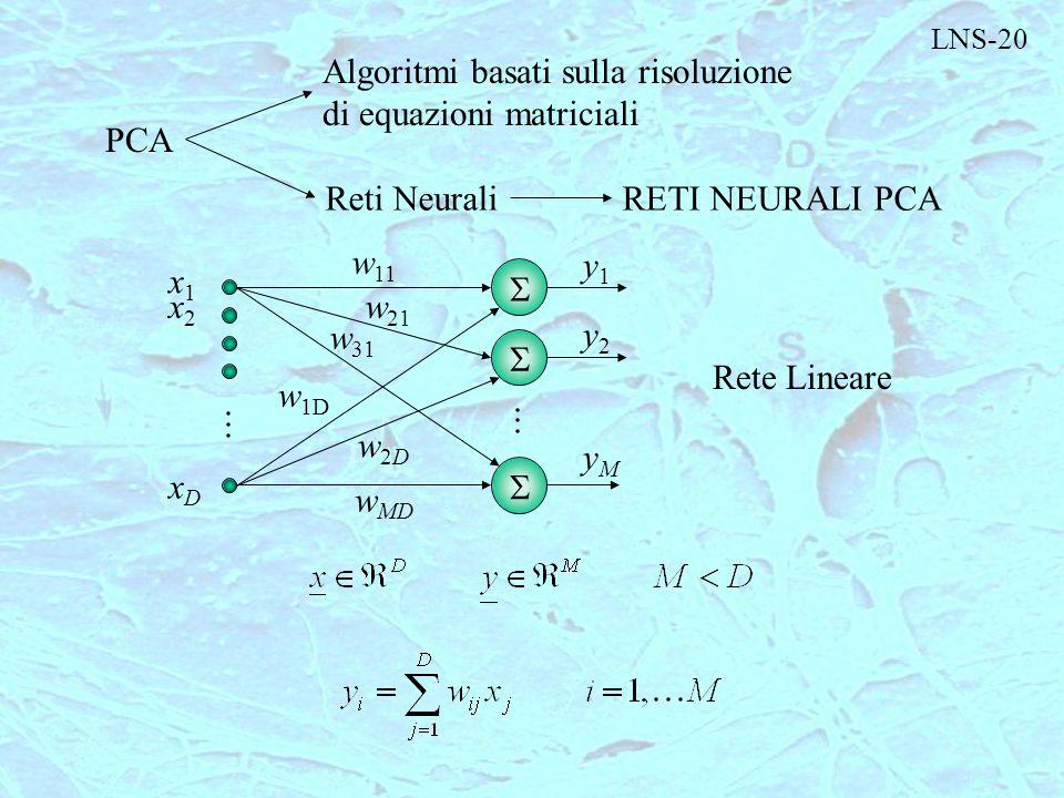 Algoritmi basati sulla risoluzione di equazioni matriciali PCA