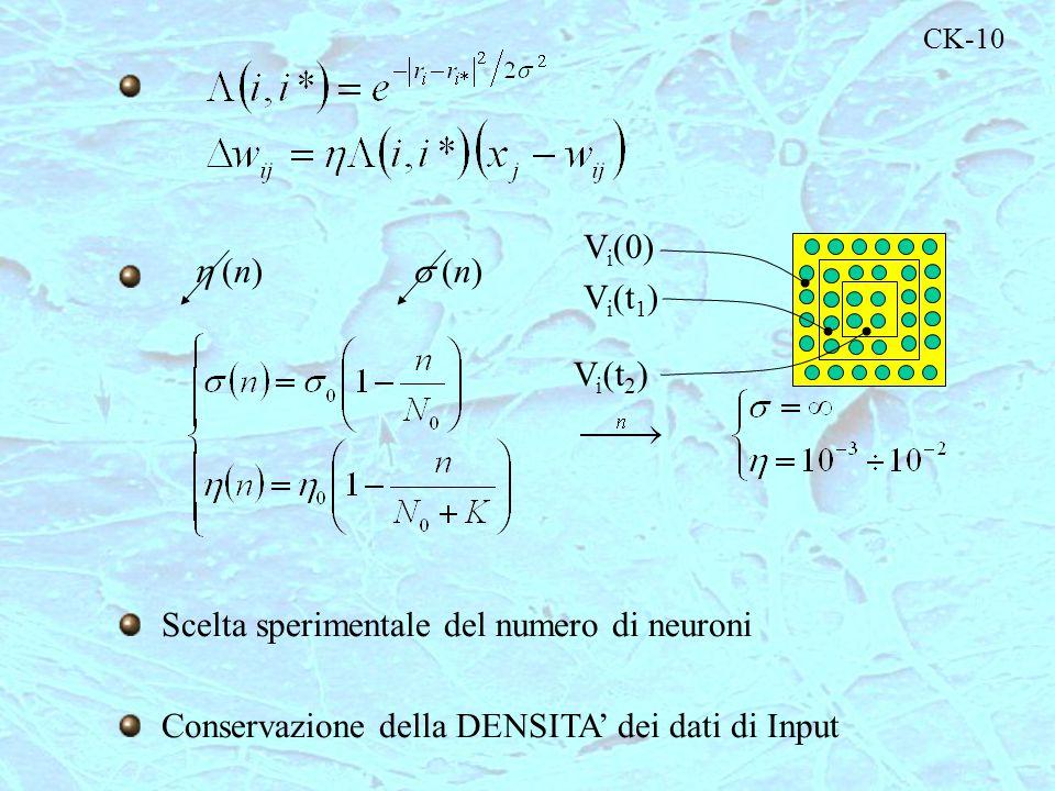 Scelta sperimentale del numero di neuroni