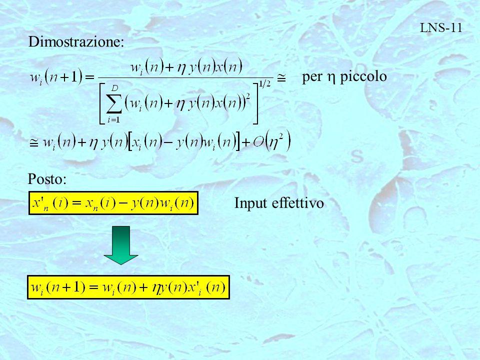 LNS-11 Dimostrazione: per h piccolo Posto: Input effettivo