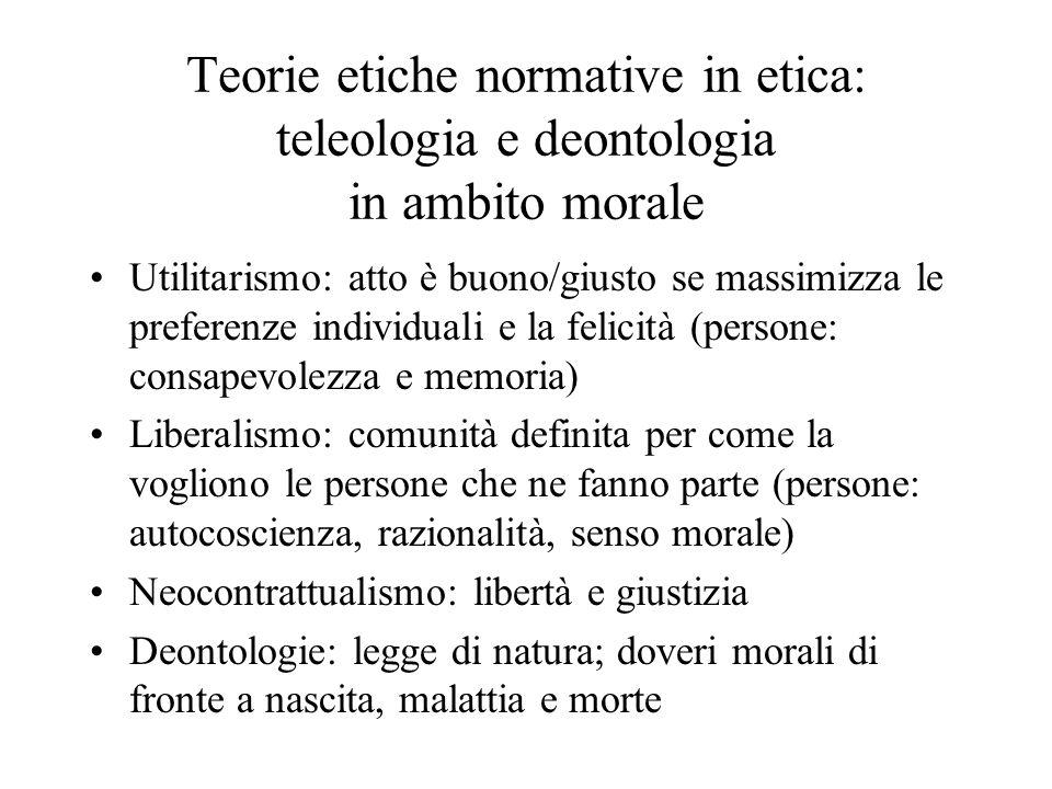Teorie etiche normative in etica: teleologia e deontologia in ambito morale
