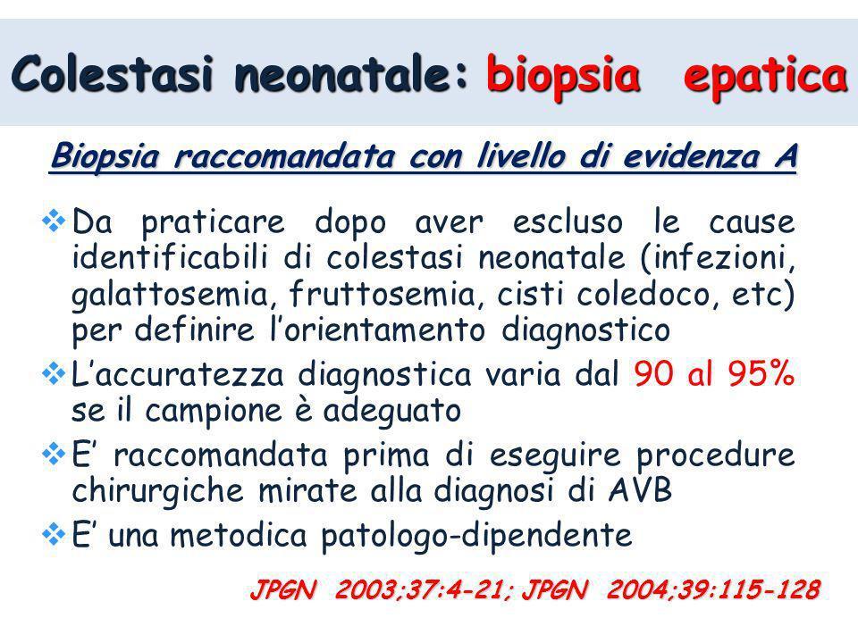 Biopsia raccomandata con livello di evidenza A