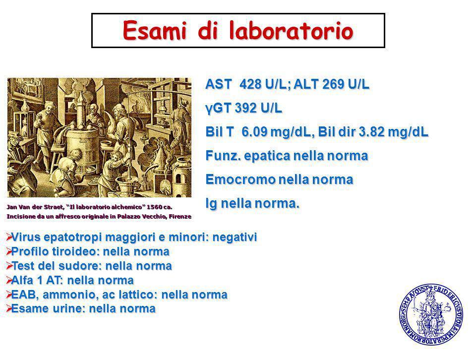 Esami di laboratorio AST 428 U/L; ALT 269 U/L γGT 392 U/L