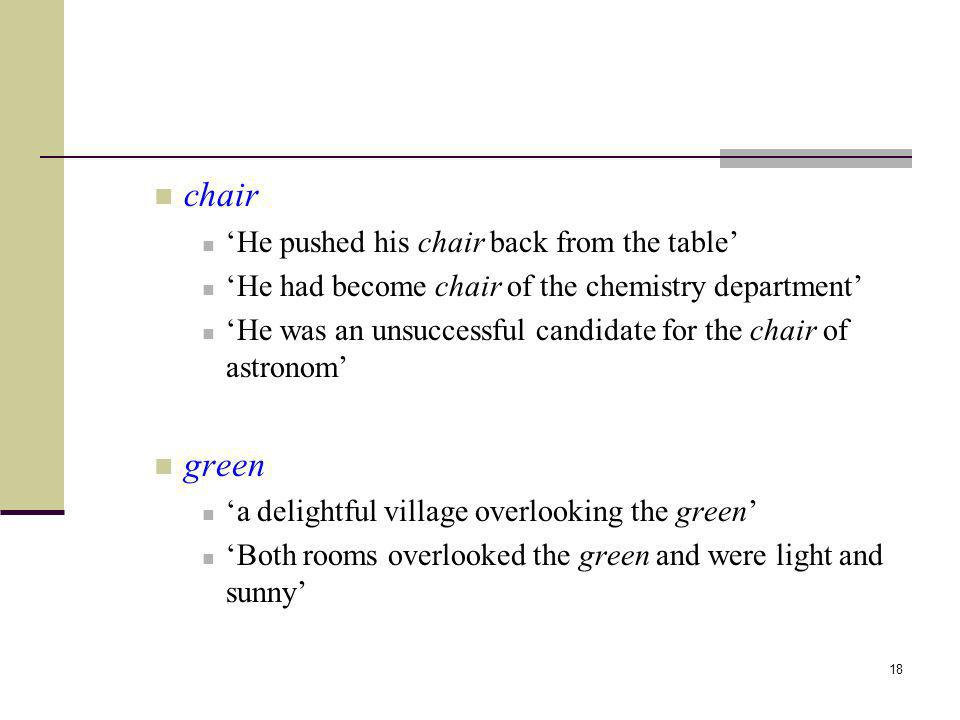 chair green 'He pushed his chair back from the table'