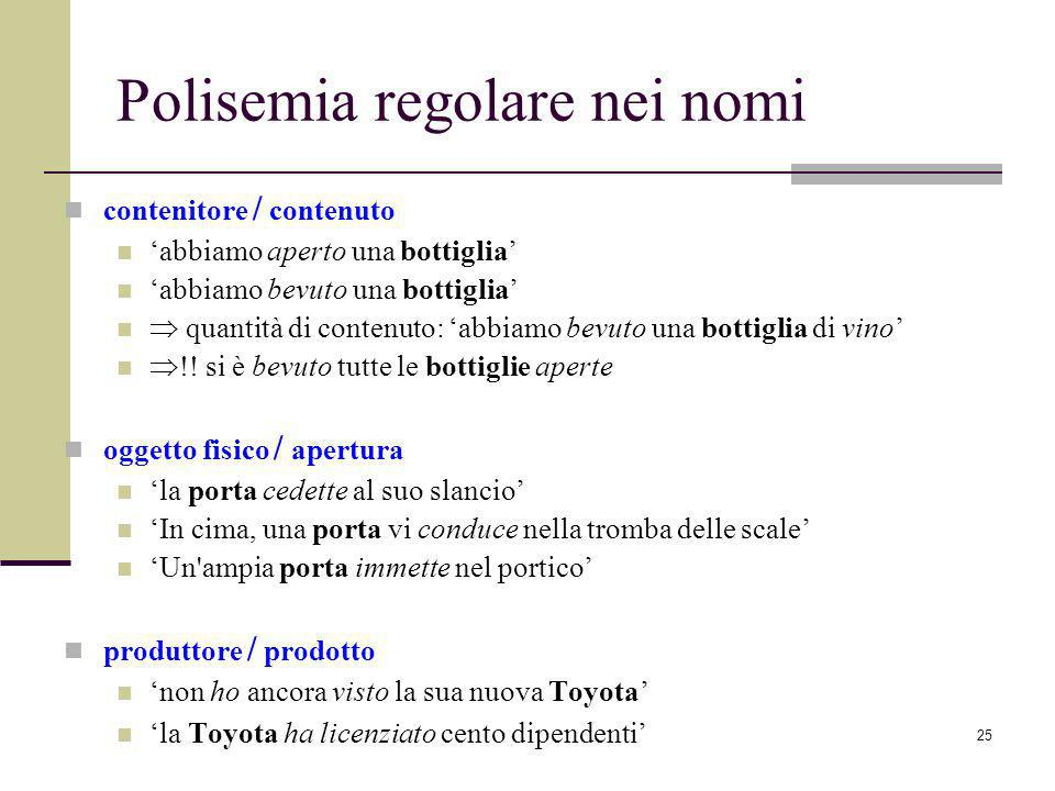 Polisemia regolare nei nomi