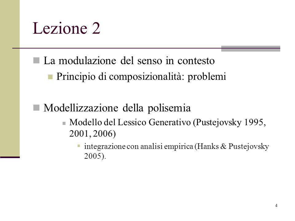 Lezione 2 La modulazione del senso in contesto