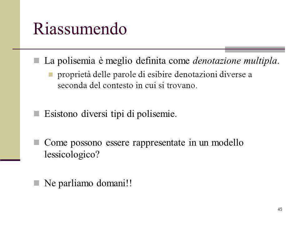 Riassumendo La polisemia è meglio definita come denotazione multipla.