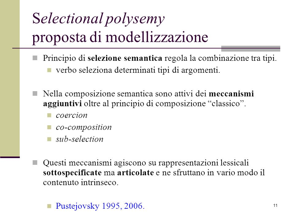 Selectional polysemy proposta di modellizzazione