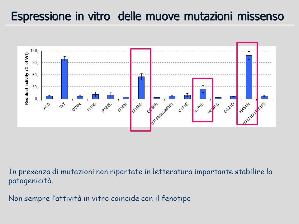 Espressione in vitro delle muove mutazioni missenso