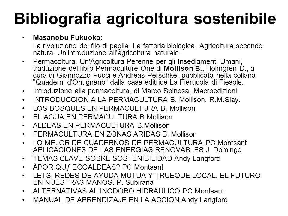 Bibliografia agricoltura sostenibile