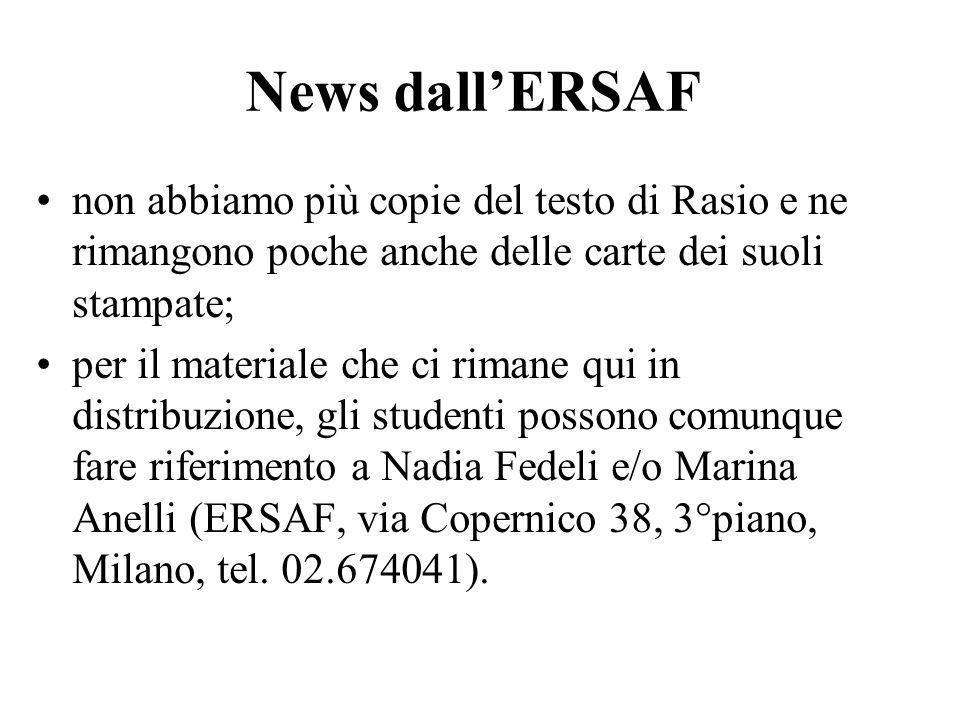 News dall'ERSAF non abbiamo più copie del testo di Rasio e ne rimangono poche anche delle carte dei suoli stampate;
