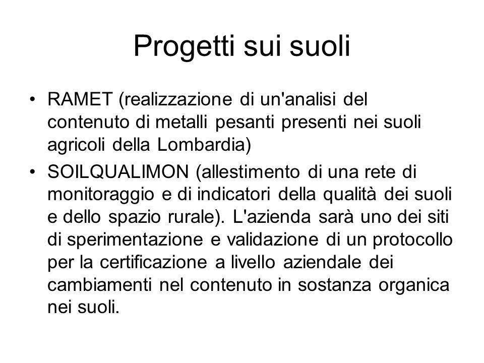 Progetti sui suoli RAMET (realizzazione di un analisi del contenuto di metalli pesanti presenti nei suoli agricoli della Lombardia)