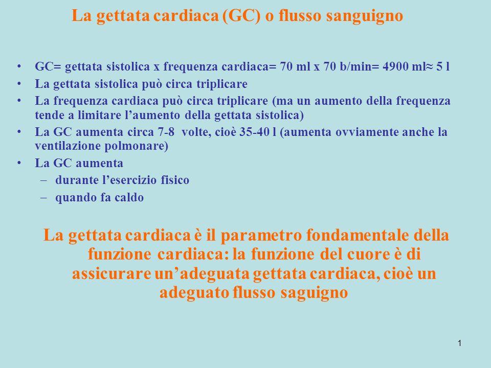 La gettata cardiaca (GC) o flusso sanguigno