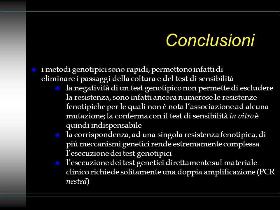 Conclusioni i metodi genotipici sono rapidi, permettono infatti di eliminare i passaggi della coltura e del test di sensibilità.