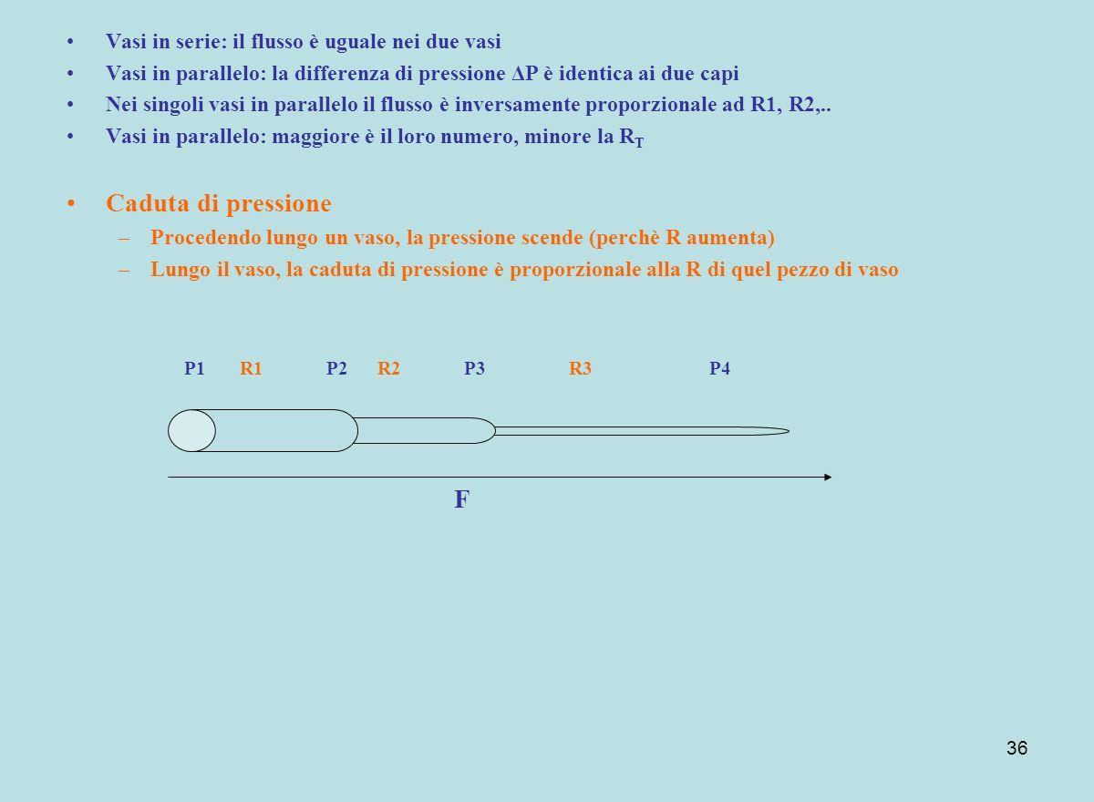 Caduta di pressione F Vasi in serie: il flusso è uguale nei due vasi
