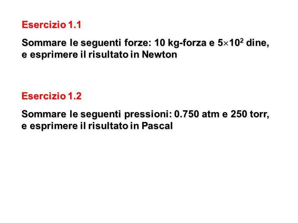 Esercizio 1.1 Sommare le seguenti forze: 10 kg-forza e 5102 dine, e esprimere il risultato in Newton.