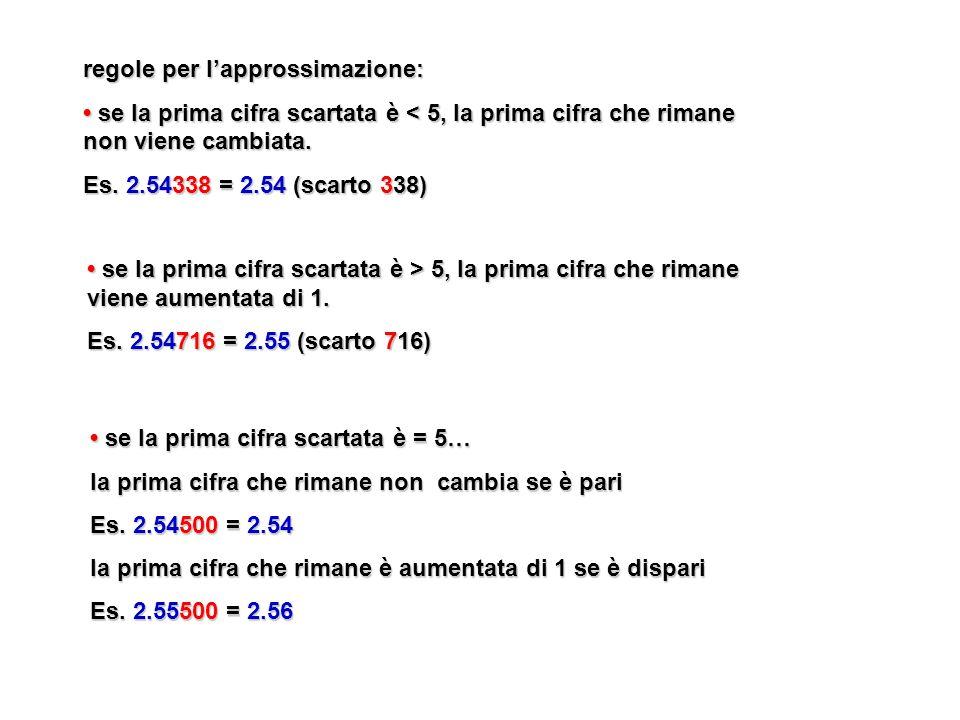 regole per l'approssimazione: