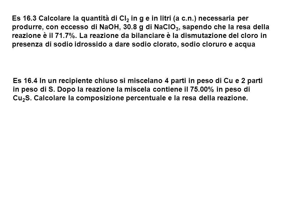 Es 16. 3 Calcolare la quantità di Cl2 in g e in litri (a c. n