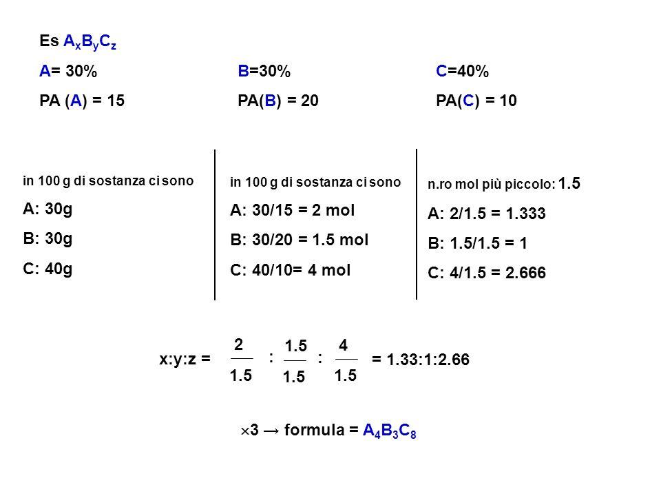 Es AxByCz A= 30% B=30% C=40% PA (A) = 15 PA(B) = 20 PA(C) = 10 A: 30g