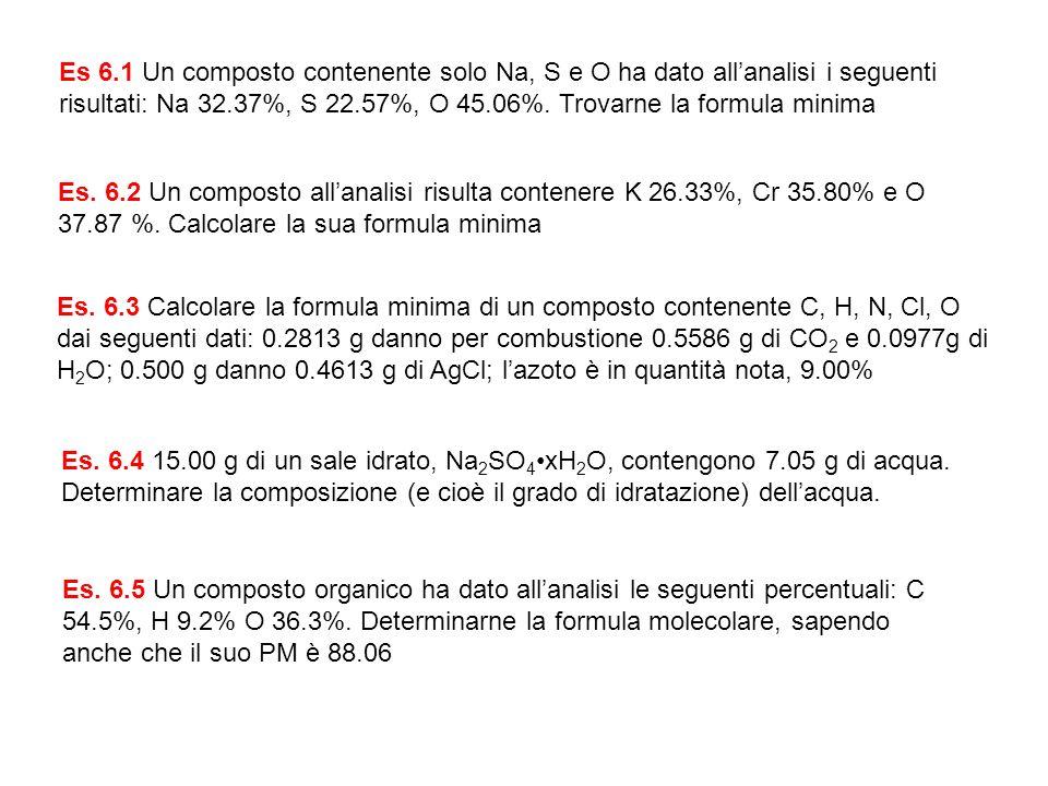 Es 6.1 Un composto contenente solo Na, S e O ha dato all'analisi i seguenti risultati: Na 32.37%, S 22.57%, O 45.06%. Trovarne la formula minima