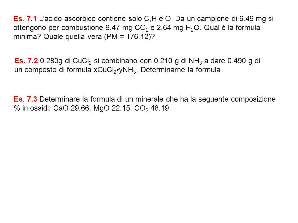 Es. 7. 1 L'acido ascorbico contiene solo C,H e O. Da un campione di 6