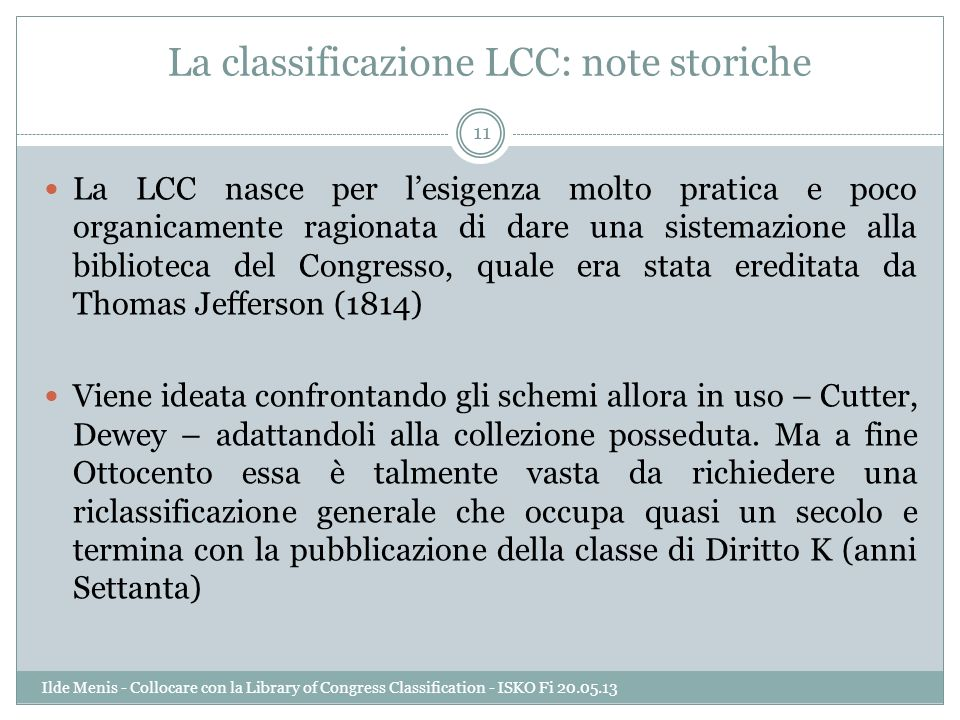 La classificazione LCC: note storiche