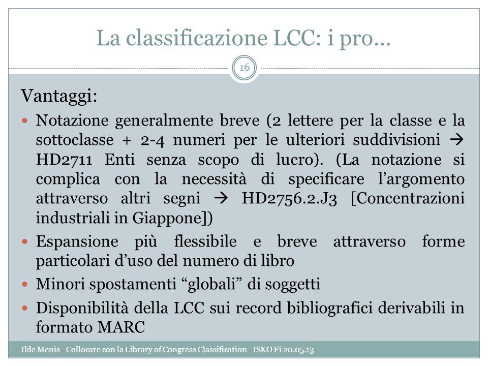 La classificazione LCC: i pro…