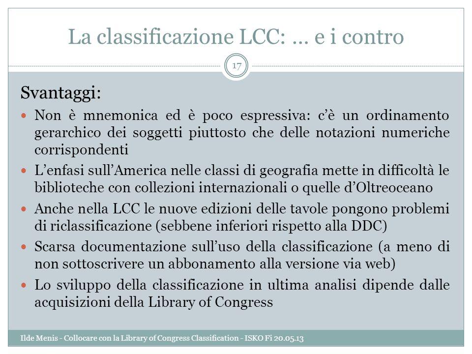 La classificazione LCC: … e i contro