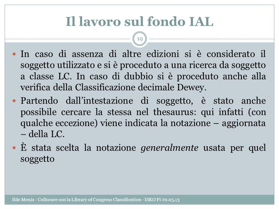 Il lavoro sul fondo IAL