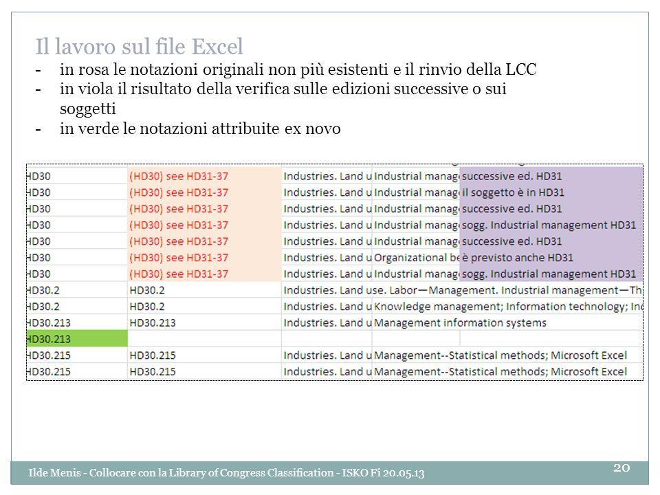 Il lavoro sul file Excel