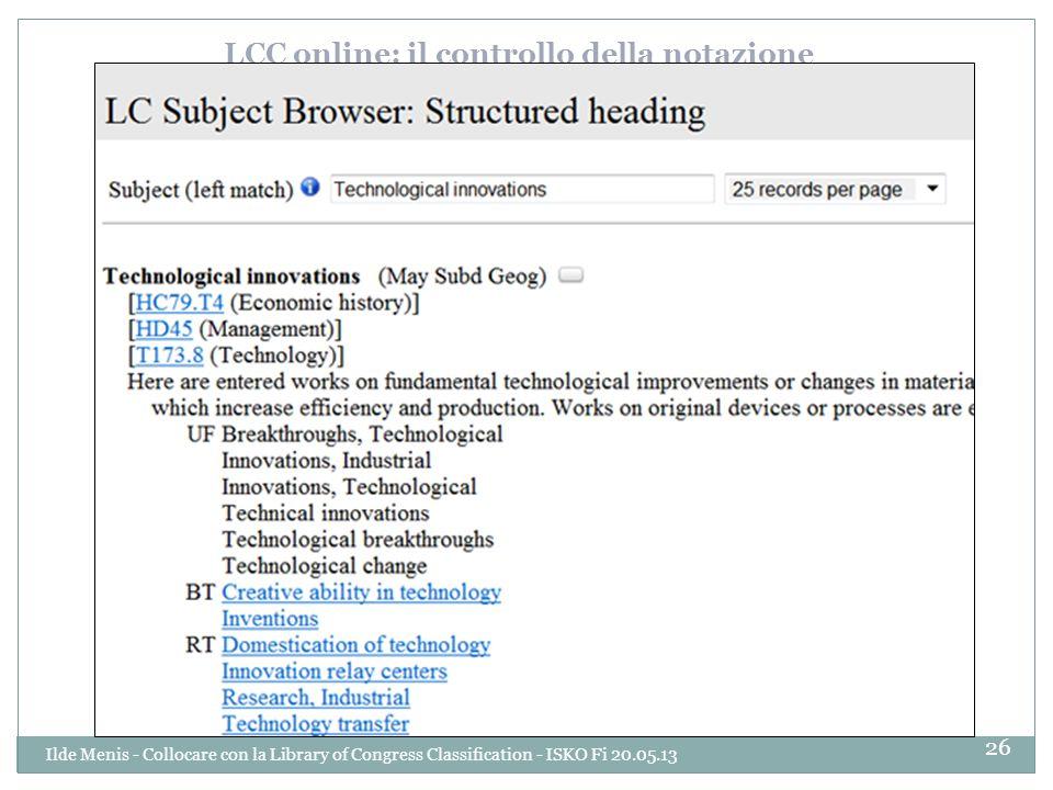 LCC online: il controllo della notazione