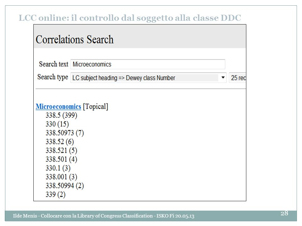 LCC online: il controllo dal soggetto alla classe DDC