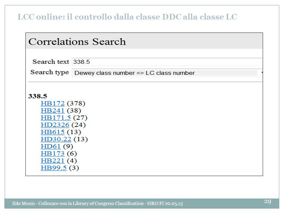LCC online: il controllo dalla classe DDC alla classe LC