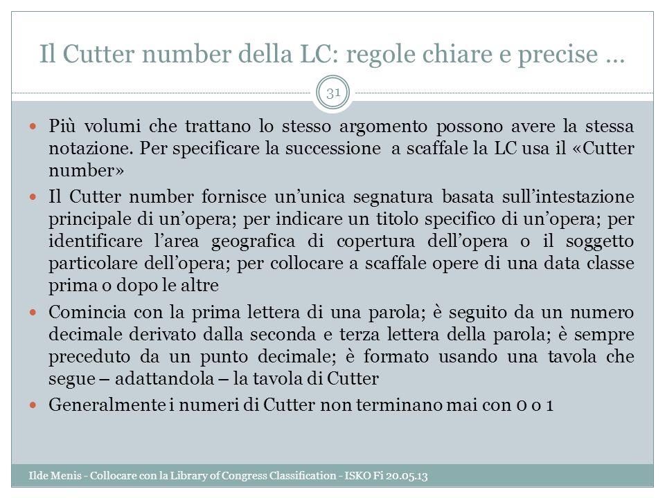 Il Cutter number della LC: regole chiare e precise …