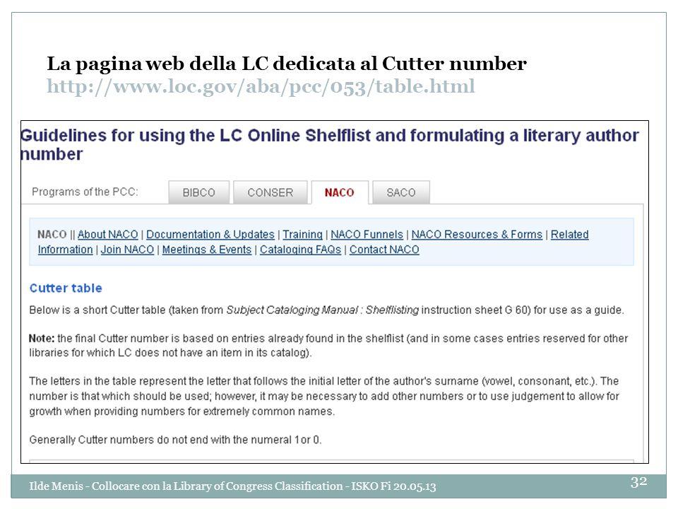 La pagina web della LC dedicata al Cutter number